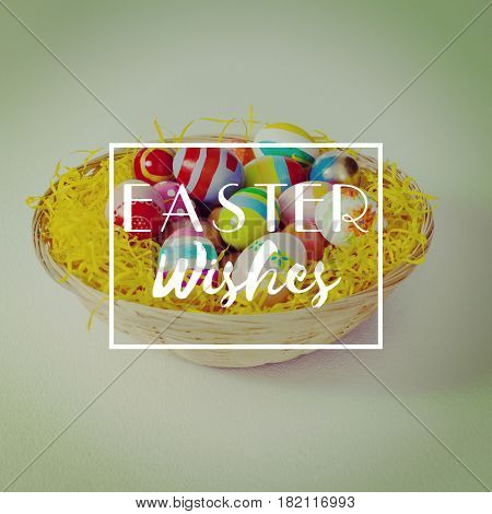 Easter greeting against painted easter eggs in the nest