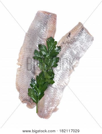 Matjes herring fillets with parsley isolated on white background