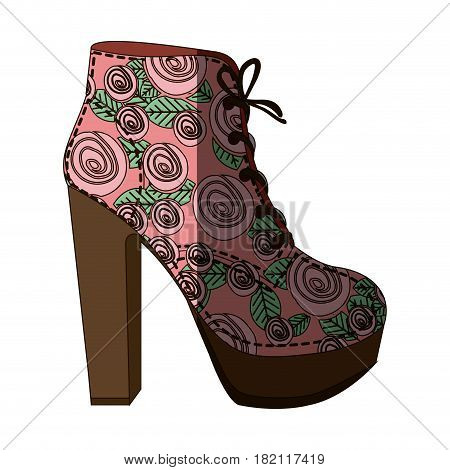 colorful silhouette of high heel shoe with shoelaces with floral decoration and middle shadow vector illustration