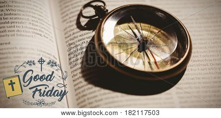 Easter message against old fashioned watch on open book