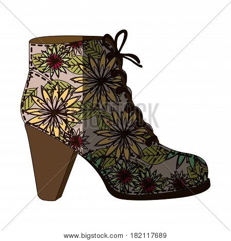 colorful silhouette of high heel shoe with shoelaces with decoratives daisy flowers and middle shadow vector illustration