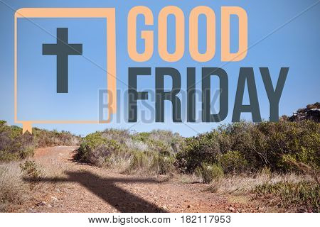 good friday logo against crucifix on the path