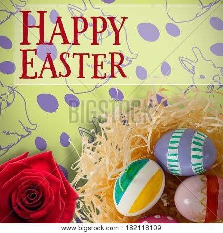 Easter greeting against picture of a rose