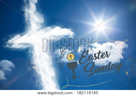 Easter message against cross shape in the sky