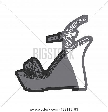 gray thick contour of sandal shoe with platform sole and floral decoration vector illustration