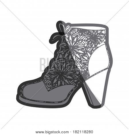 gray thick contour of leather high heel shoe with shoelaces with floral decoration vector illustration