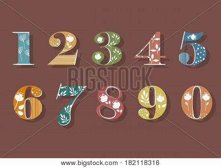 Floral Numerals. Colorful Symbols with white decor and silhouettes of Graceful Flowers. Vector Illustration