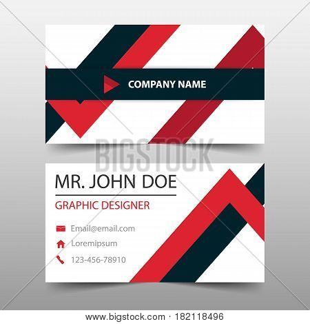 Red triangle corporate business card name card template horizontal simple clean layout design template Business banner template for website