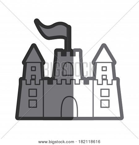gray thick contour of sandcastle with flag vector illustration