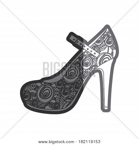 gray thick contour of high heel shoe with belt and floral decoration vector illustration
