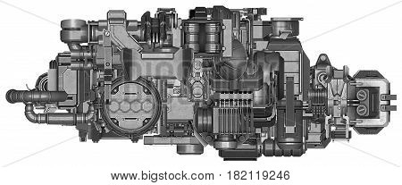 3d illustration of abstract industrial equipment technology mechanism