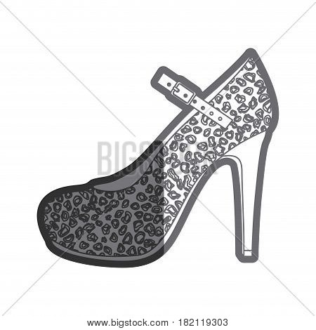 gray thick contour of high heel shoe with stain decoration vector illustration