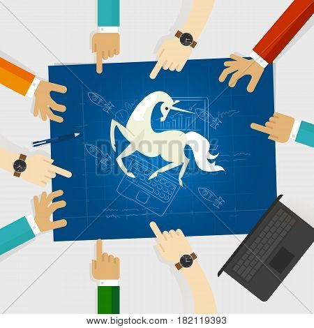 unicorn start-up tech company hands pointing white horse around the blue print with sketch drawing vector