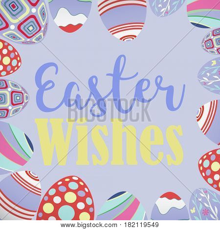 easter eggs against pastel blue