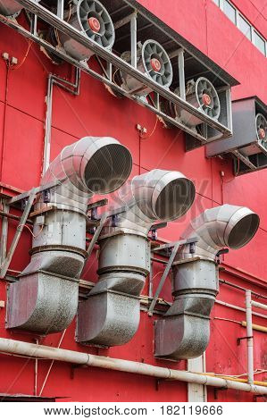 Ventilation Pipes Outside A Building. Urban Industrial Concept