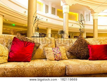 Sharm El Sheikh, Egypt - April 13, 2017: Hotel lobby at the luxury five stars hotel RIXOS SEAGATE SHARM at Sharm El Sheikh, Egypt on April 13, 2017
