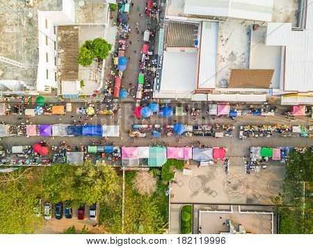 Aerial View Of Walking Street Market