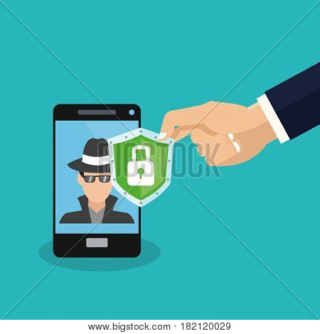 smartphone with hacker man icon on screen and shield with padlock over blue background. colorful design. vector illustration