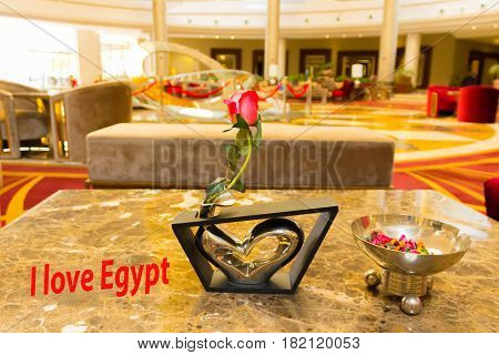 The abstract hotel lobby at the luxury hotel at Egypt. Concept of love to Egypt - travel and happy vacation