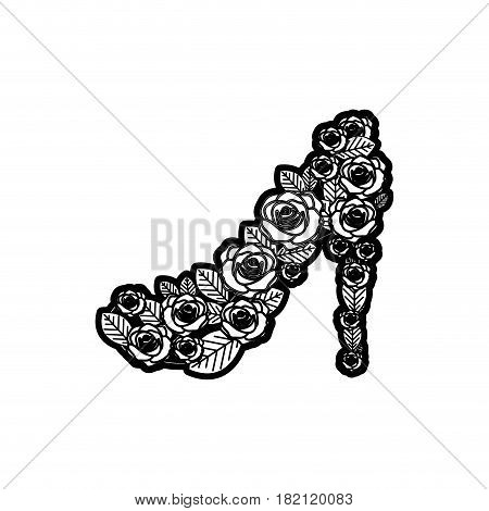 black thick contour of high heel shoe formed by roses vector illustration