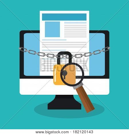 computer with padlock and magnifying glass icon over blue background. colorful design. vector illustration