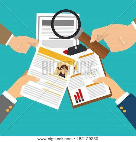 hands with curriculum vitae over blue background. human resources concept. colorful design. vector illustration