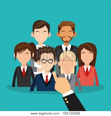people and hand pointing over blue background. human resources concept. colorful design. vector illustration