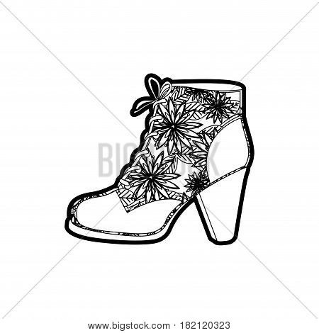 black thick contour of leather high heel shoe with shoelaces with floral decoration vector illustration