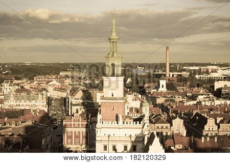 Poznan, Poland - August 30, 2016: Town Hall, Old And Modern Buildings At Sunset In City Poznan