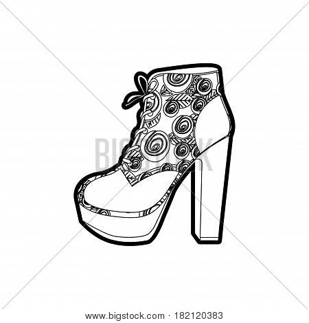 black thick contour of high heel shoe with shoelaces with floral decoration vector illustration