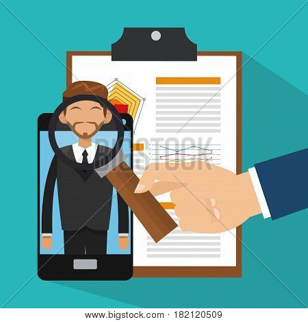 smartphone with man on screen and hand holding a smartphone over blue background. human resources concept. colorful design. vector illustration