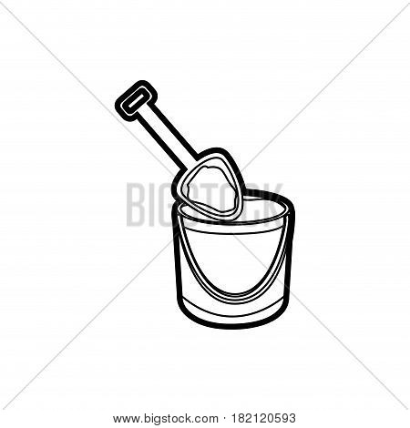 black thick contour of bucket sand and shovel vector illustration