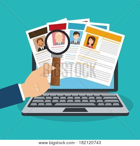 computer and curriculum vitae over blue background. human resources concept. colorful design. vector illustration