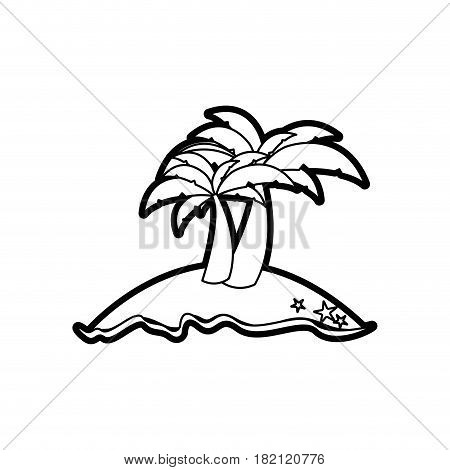 black thick contour of island with two palms vector illustration