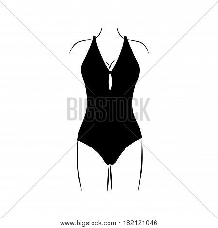 monochrome silhouette of woman in one piece swimsuit vector illustration