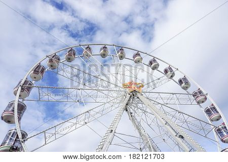 close up ferris wheel landmark at Darling Harbour in Sydney Australia on 4 July 2016