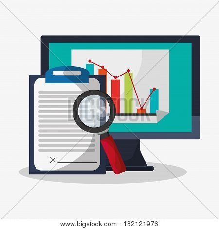 computer with web search related icons image vector illustration design