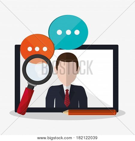 tablet with web search related icons image vector illustration design