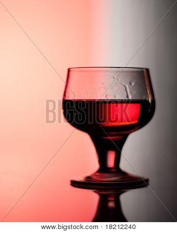 Cognac Glass Backlit By Red And Blue