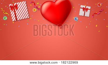 Red inflatable balloon in the shape of a heart with gift boxes, candles, tinsel and confetti on colored background. Template for creative persons. Best background for holiday, festive greetings cards.