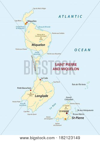 Vector map of the french island saint pierre and miquelon