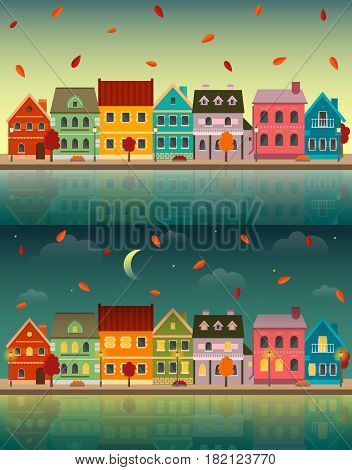 Autumn cityscapes: day and night set. Urban landscapes in the fall with reflections on the water. EPS10 vector illustration in flat style.