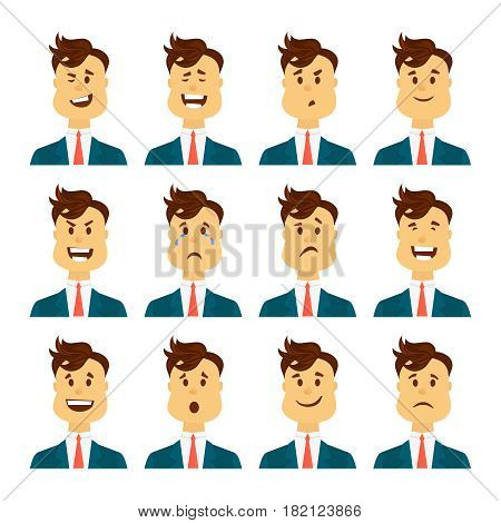 Set of avatars with male emotions including joy doubt and anger .Business or office man emoji character with different expressions. Vector illustration in cartoon style.