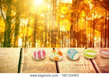Colorful Easter eggs arranged side by side against autumn scene