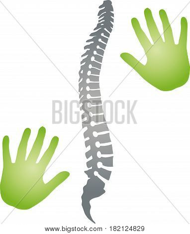 Spine and two hands, orthopedics and physiotherapy logo