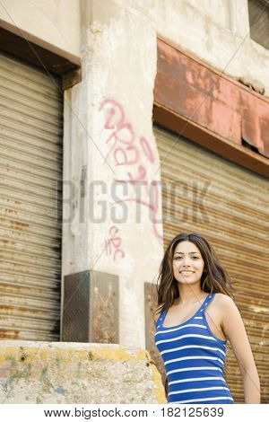 Middle Eastern woman in urban setting