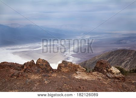 Panoramic view on Badwater salt flats from Black Mountains Dante's View. Death Valley California