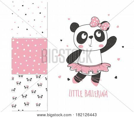 Little panda ballerina. Surface design and 3 seamless patterns. Can be used for kid's clothing. Use for print design surface design fashion kids wear