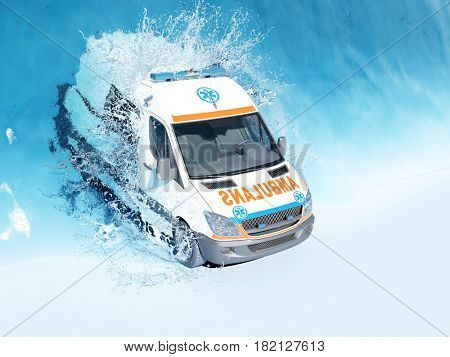 Ambulance under the water.,3d render