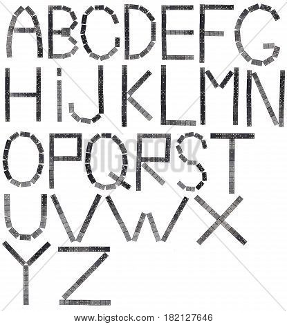 full English alphabet of black dominoes tiles isolated